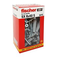Fischer 542449 Dowel with Screw Left, Grey, 8 x 40 mm, Set of 50)