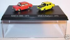 COFFRET ATLAS DUO 2 METAL UH SIMCA 1000 RALLYE ROUGE RALLYE 2  1973 HO 1/87