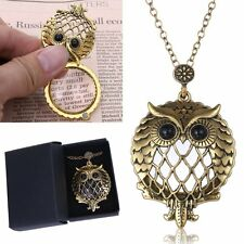 Owl Long Chain Grandma Gift Magnifying Glass Pendant Necklace Vintage Free Box