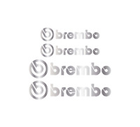 4 x SILVER BREMBO Brake Caliper Decals Stickers - FRONT & REAR