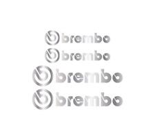 4 x SILVER BREMBO Brake Caliper Decals Stickers - FRONT & REAR