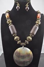 Antique Long Gold Acrylic &Wood Bead Large Shell Pendant Medallion  Necklace Set
