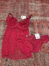 BNWT Cleo By Panache Underwired Babydoll (34H) And Briefs (16) In Raspberry Red