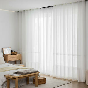 Spliced Striped Embroidered Semi Sheer and Linen Curtain for Living Room 1 Panel