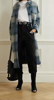 ISABEL MARANT ÉTOILE Gabrion Oversized Checked Coat Blue Size 2 Orig. $680 NWT