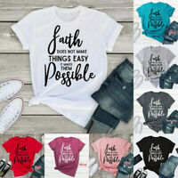 Women Short Sleeve Faith Inspirational Christian T-shirts Casual Loose Tank Tops