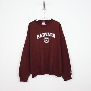 R16 Vtg Champion Harvard 90s Men Burgundy Red Jumper Sweatshirt Pullover Rare XL
