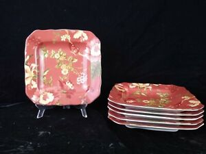 222 Fifth RED SUMMER BOTANICAL-LUTECE-FLEUR ROUGE Salad Plate  6 Available