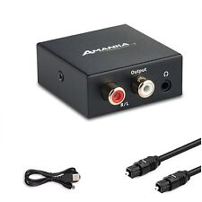 Digital Optical Coax to Analog RCA Audio Converter Adapter Blu-Ray PS3 PS4 Out