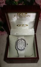 Oniss Paris Ceramic Watch Saphire Crystal Swiss Movement white /silver new $795