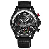 Stuhrling 908 05 Aviator Quartz Chronograph Date Black Leather Mens Watch