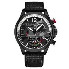 Stuhrling 908 05 Aviator Quartz Chronograph Date Black Leather Mens Watch