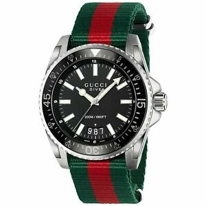Mens Gucci Dive Stainless Steel Green Red Nylon Watch - YA136206
