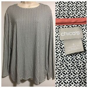 CHICO'S Soft Jersey Sweater Top Geometric Monochrome Tunic Long Sleeved UK 16