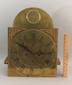 Antique 18thC Dumfries Scotland, McGibbon Tall Brass Calendar Clockworks Face