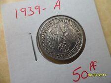 German 50 Reichspfennig 1939-A Scarce Third Reich Nickel Coin WW2 pf