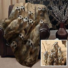Meerkat Family Design Soft Fleece Throw Blanket Great Gift Idea L&s Prints