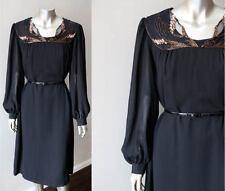 Retro Vintage 80s Chiffon Crepe Layering Beaded Caftan Black Metallic Dress XL