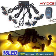 8In1 16 LED 16W Remote Control Flash Strobe Warn Light Deck Dash Grill Amber 12V