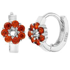 925 Sterling Silver Red CZ Flower Small Huggie Hoop Earrings for Girls