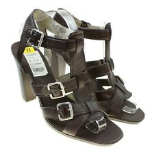 NINE WEST Gaulla Womens Brown Leather Strappy Open Toe Heels Size 11M