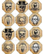 Vintage inspired glossy Halloween 12 label skull scrapbooking decoration crafts