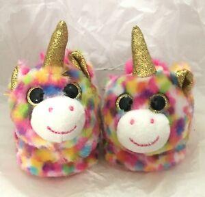 Toddler Girls Unicorn Slippers Size S 5-6 Pink Confetti Color Faux Fur Non Slip