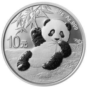 China - 10 Yuan 2020 - Panda - Anlagemünze - 30 gr Silber ST