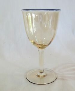 Czechoslovakia Marigold Carnival Iridescent w/ Blue Rim Goblet(s)