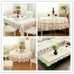 Embroidered Lace Rose Cutwork Restaurant Tablecloth Table /TV Furniture Decor