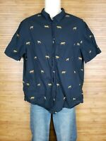 H&M Navy Blue Button Front Shirt Tiger Short Sleeve Mens size Large L