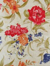 Red, Orange and Blue/Purple Floral Vinyl Flannel Back Tablecloth Various Sizes