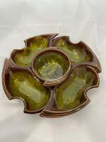 Vintage California Originals Chip And Dip Set Pottery Green Brown Dish Bowl MCM