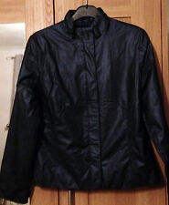 Navy blue ladies funnel-neck PU/PVC jacket (New Look/size 14)