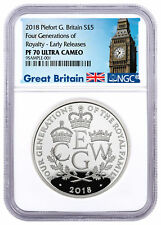 2018 G Britain Four Generations Royalty Piedfort Silver £5 NGC PF70 ER SKU52407