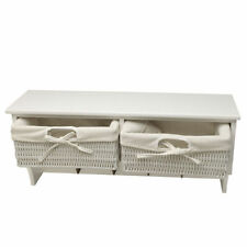 White Float Wall Shelf Unit with Two Wicker Drawers and Four Hook Hallway Unit
