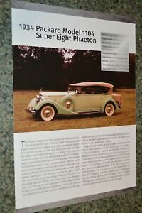 ★1934 PACKARD MODEL 1104 SUPER EIGHT PHEATON INFO SPEC SHEET PHOTO FEATURE PRINT