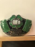 Pre-owned ~ Official Irish Drinking Team Metal Belt Buckle (Green and Black)