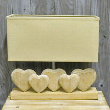 Wooden Five Heart Cream Lamp with Linen Shade Shabby Chic