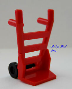 NEW Lego Minifig Tool RED HAND CART w/Black Wheels Vehicle Mover's Dolly