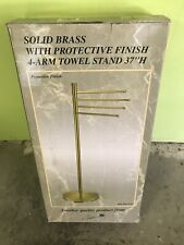 """Solid Brass With Protective Finish 4 Bar Towel Stand 37"" H"" By Gatco #1521"