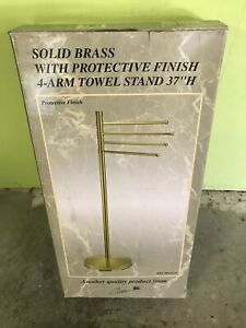 """""""Solid Brass With Protective Finish 4 Bar Towel Stand 37"""" H"""" By Gatco #1521"""