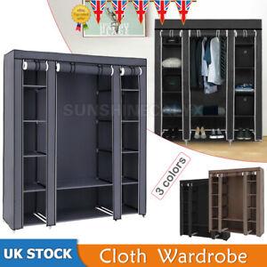 Large Canvas Wardrobe Foldable Clothes Cupboard Storage Organiser Shelving Rail