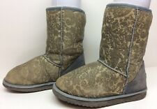#4 WOMENS UGG AUSTRALIA WINTER LEATHER SHEEPSKIN FLORAL BROWN BOOT SIZE 6