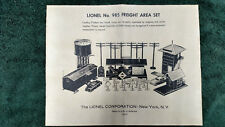 LIONEL # 985 FREIGHT AREA SET INSTRUCTIONS PHOTOCOPY