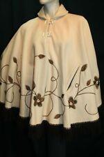 Vtg 60s 70s Wool BRONZE Embroidered TOGGLE Poncho Boho Gypsy Fringe Cape Coat