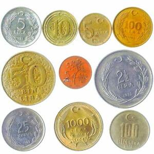 10 DIFFERENT TURKISH COINS. TURKEY COLLECTIBLE MONEY: KURUS, BIN LIRA 1961-2021
