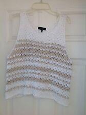 Rag & Bone White & Tan Striped Knit Sleeveless Sweater Top Size Large NWOT