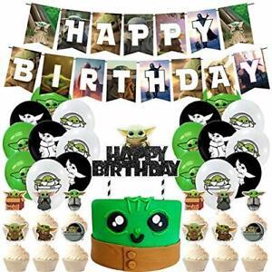 45 Pcs Baby Yoda Birthday Decoration Set - Star Wars Themed Party Supplies