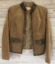 Michael Kors Women's Brown Embellished Lined Jacket Blazer Size 2 Extra Small